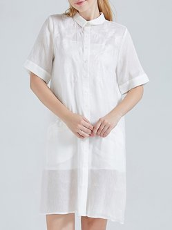 White Vintage Floral Shirt Collar Linen Silk Tunic