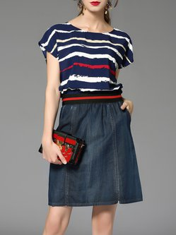 Blue Paneled Stripes Short Sleeve Denim Midi Dress