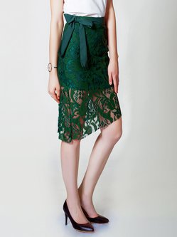 Dark Green Pierced Vintage Asymmetrical Floral Midi Skirt