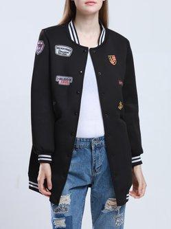 Black Casual Appliqued Stand Collar Coat
