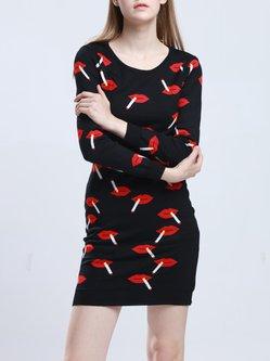 Long Sleeve Casual Crew Neck H-line Cotton-blend Printed Mini Dress