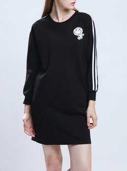 Black Long Sleeve Appliqued Polyester Crew Neck Mini Dress