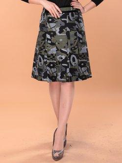 Dark Green Casual A-line Printed Midi Skirt
