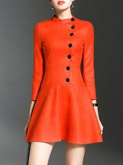 Elegant Plain Flounce Buttoned 3/4 Sleeve Mini Dress