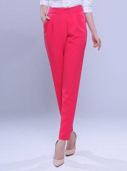 Red Pockets Simple Plain Folds Skinny Leg Pants