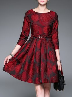 Floral Crocheted Basic 3/4 Sleeve Folds Mini Dress with Belt