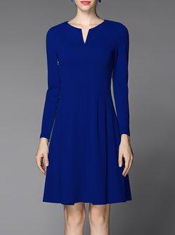 Royal Blue Solid Long Sleeve V Neck Mini Dress