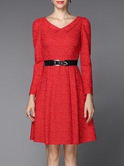 Red Peter Pan Collar Jacquard Lace Basic Midi Dress