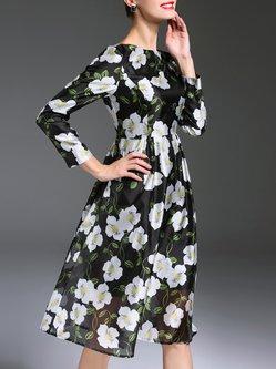 Green Floral Printed Casual Organza boat Neck Midi Dress