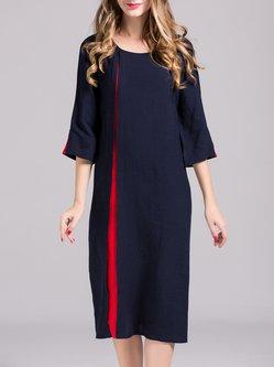 Linen Simple 3/4 Sleeve Solid Paneled Midi Dress