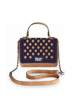 Navy Blue Casual Small Cork Leather Satchel
