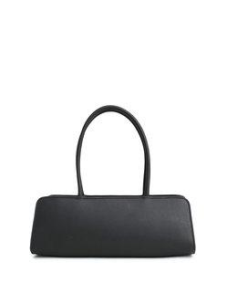 Black Medium Cowhide Leather Simple Top Handle