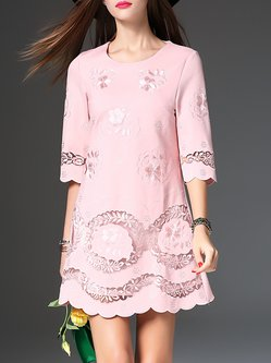 Pink Sweet Embroidered  Layered scalloped Mini Dress