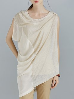 Apricot Knitted Sleeveless Asymmetric Plain Tunic With Camis