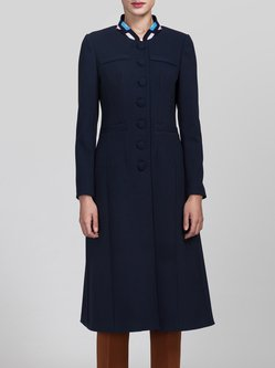 Navy Blue A-line Work Stand Collar Symmetric Coat
