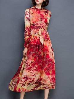 Red Floral Printed Casual Midi Dress With Belt