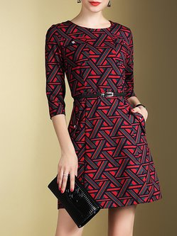 Multicolor Pockets Elegant Geometric Mini Dress With Belt