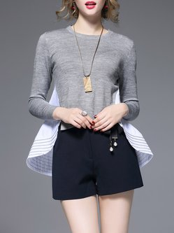 Gray High Low Crew Neck Statement Pleated Sweater