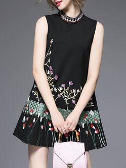 Black Viscose Elegant Foral Embroidered A-line Mini Dress