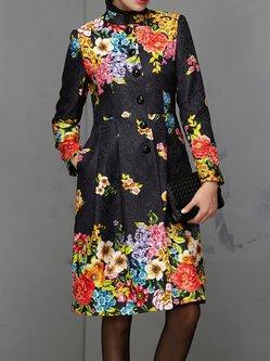 Black Elegant Stand Collar Polyester Floral-print Coat
