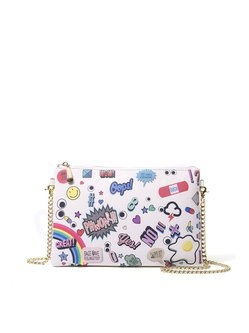 Printed Cowhide Leather Small Zipper Statement Crossbody