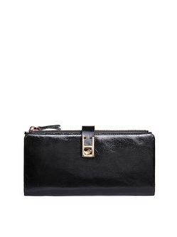 Black Mini Simple Cowhide Leather Wallet