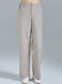 Khaki Ruched Pockets Plain Cotton-blend Simple Straight Leg Pants