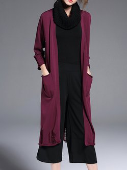 Wine Red 3/4 Sleeve Plain Knitted Silk-blend Tear Coat