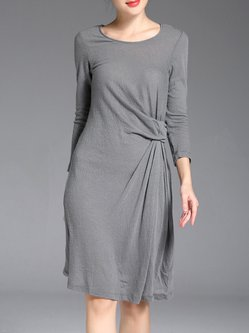 Gray Simple Wool Ruched Crew Neck Midi Dress