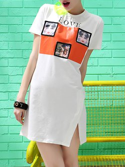 Printed Street Short Sleeve Crew Neck Mini Dress