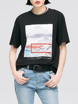 Appliqued Cotton-blend T-Shirt