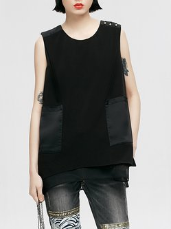 Casual Polyester Letter Crew Neck Tank