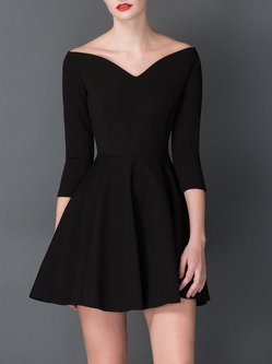 Vintage Shirred Plain 3/4 Sleeve V Neck Mini Dress