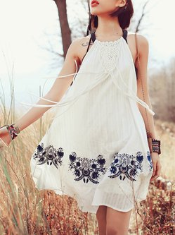 White Sleeveless Cutout Mini Dress