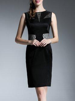 Sleeveless Sexy Acetate Sheath Zipper Midi Dress