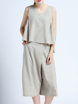 Light Gray Two Piece Sleeveless Cotton-blend Jumpsuit