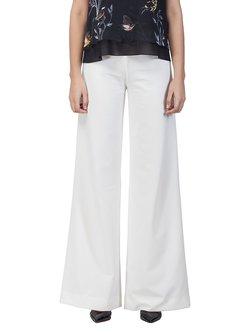 White Work Plain Wide Leg Pants