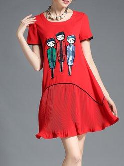 Ribbed Casual Short Sleeve Mini Dress