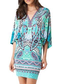 Green V-neck Batwing H-line Tribal Jersey Mini Dress