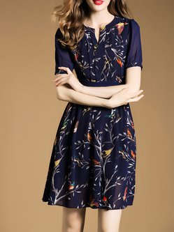 Dark Blue Elegant A-line Printed Mini Dress