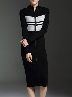 Black Zipper Sheath Long Sleeve Knitted Midi Dress