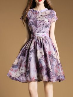 Elegant Short Sleeve Floral Stand Collar Mini Dress