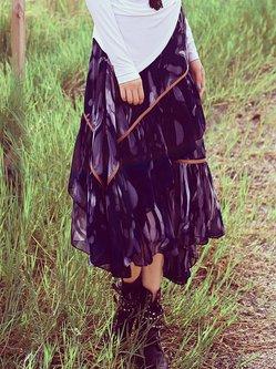 Blue Printed Flounce Boho Chiffon Midi Skirt