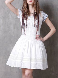 White Shirred Jacquard A-line Resort Mini Dress