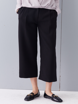 Black Pockets Simple Wide Leg Pants