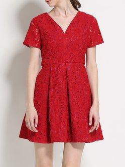 Red Pierced Short Sleeve A-line Lace Mini Dress