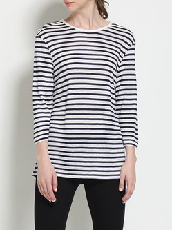 Blue Linen Crew Neck Simple Stripes 3/4 Sleeve Top