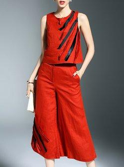 Orange Color-block Sleeveless Two Piece Cotton Jumpsuit