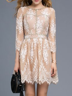 Apricot Elegant Lace 3/4 Sleeve Mini Dress