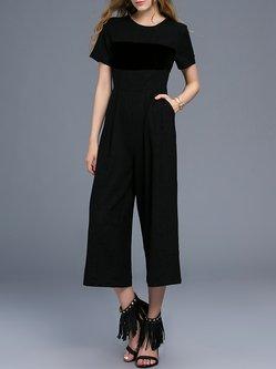 Black Wool Blend Paneled Short Sleeve Pockets Jumpsuit
